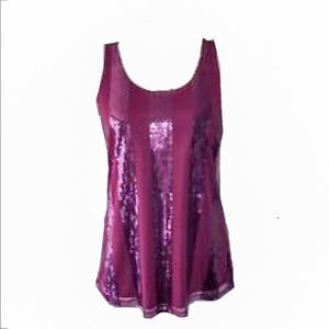 THE LIMITED Sequin Stripe Overlay Tank XL EUC